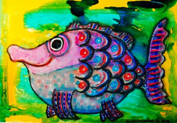 Oscar the Nosefish - mixed media on heavy watercolour paper