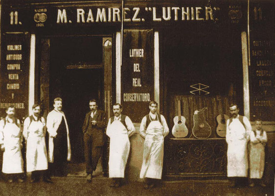 AROUND 1904 FROM L. TO R.: TWO REPAIRMEN, THE ACCOUNTANT, MANUEL RAMIREZ, SANTOS HERNANDEZ, MODESTO  BORREGUERO,  DOMINGO ESTESO, AND A HELPER