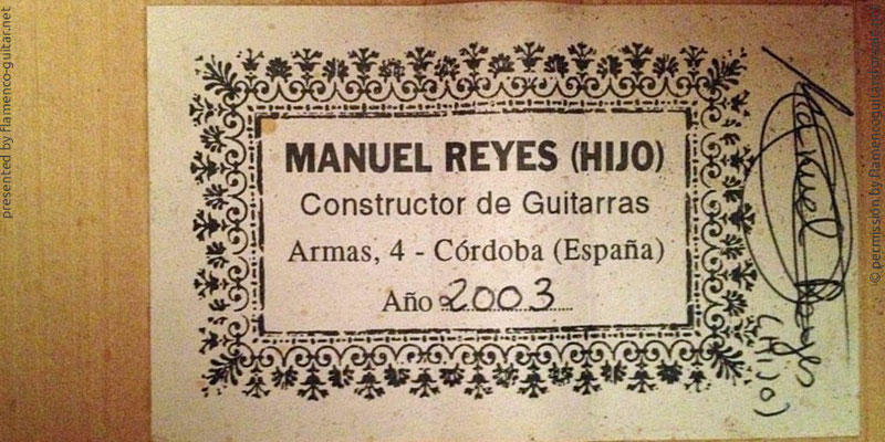 MANUEL REYES HIJO GUITAR 2003 - LABEL - ETIKETT - ETIQUETA
