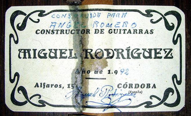 Miguel Rodriguez 1992 - Angel Romero - Guitar 2 - Photo 6
