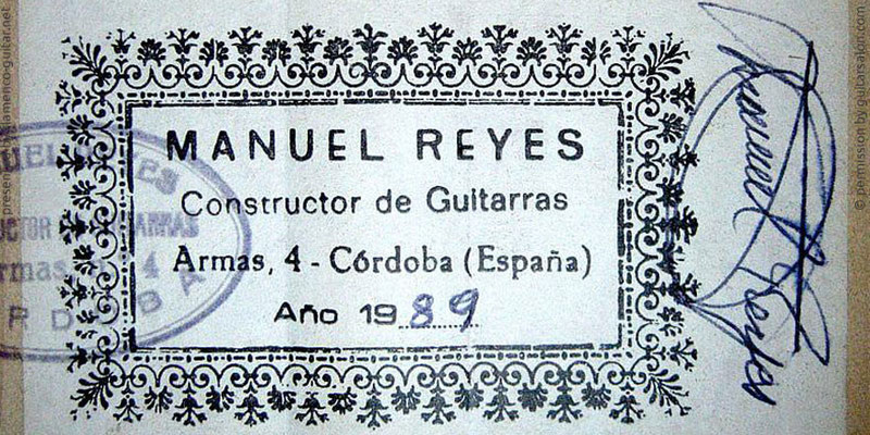 MANUEL REYES GUITAR 1989 - LABEL - ETIKETT - ETIQUETA