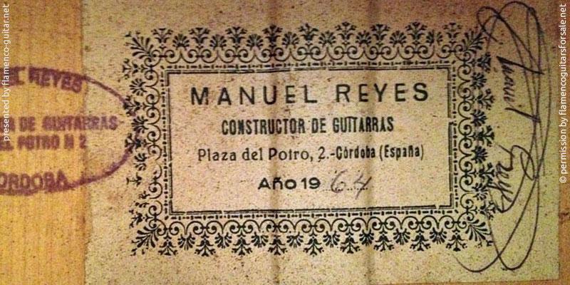 MANUEL REYES GUITAR 1964 - LABEL - ETIKETT - ETIQUETA