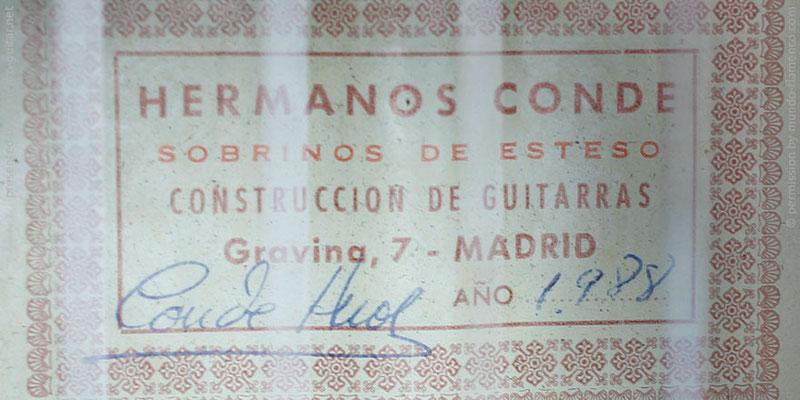 HERMANOS CONDE - SOBRINOS DE ESTESO 1988 - LABEL - ETIKETT - ETIQUETA