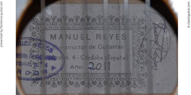 MANUEL REYES GUITAR 2011 - LABEL - ETIKETT - ETIQUETA