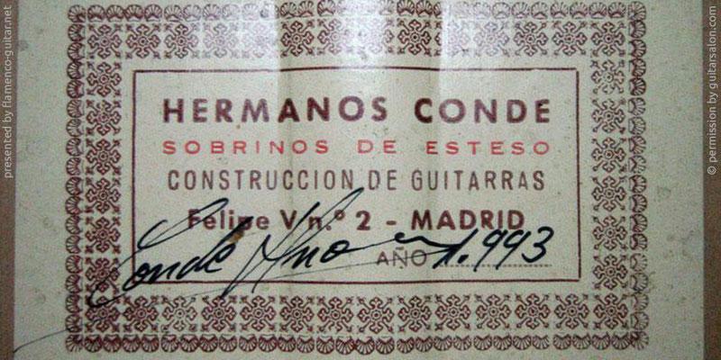 HERMANOS CONDE - SOBRINOS DE ESTESO 1993 - LABEL - ETIKETT - ETIQUETA