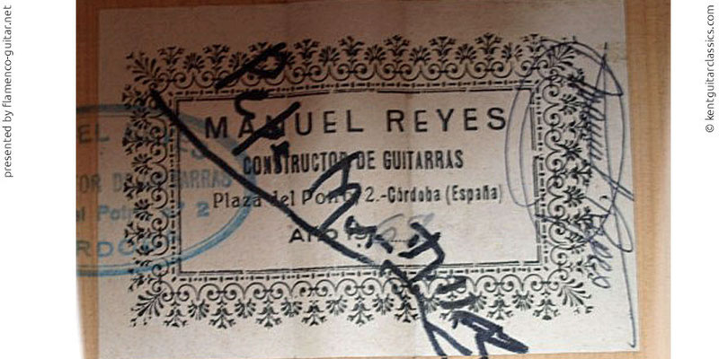MANUEL REYES GUITAR 1969 - LABEL - ETIKETT - ETIQUETA