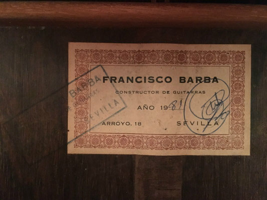 Francisco Barba 1981 - Guitar 2 - Photo 3