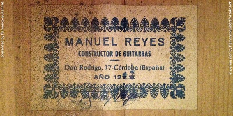 MANUEL REYES GUITAR 1962 - LABEL - ETIKETT - ETIQUETA