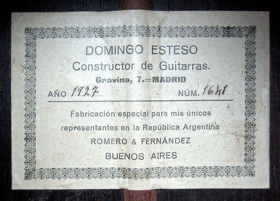 Domingo Esteso 1927 - Guitar 1 - Photo 6