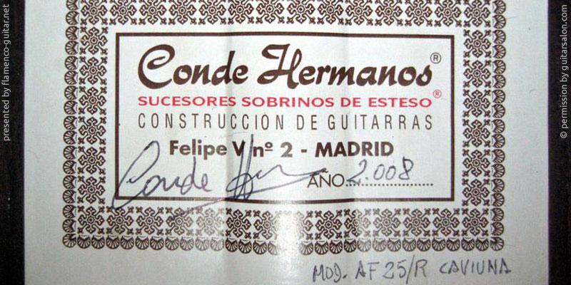 HERMANOS CONDE - SOBRINOS DE ESTESO 2008 - LABEL - ETIKETT - ETIQUETA