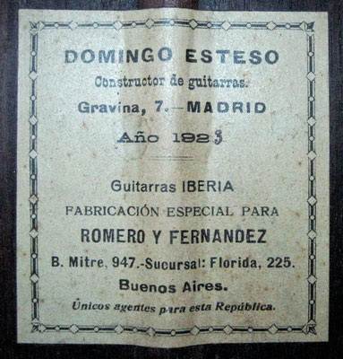 Domingo Esteso 1923 - Guitar 1 - Photo 3
