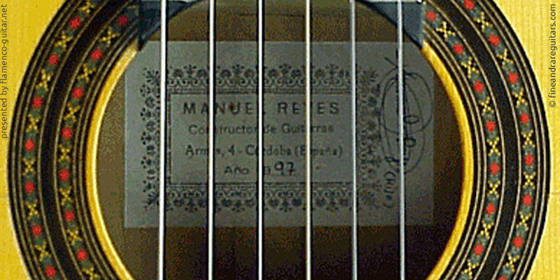 MANUEL REYES GUITAR 1997 - LABEL - ETIKETT - ETIQUETA