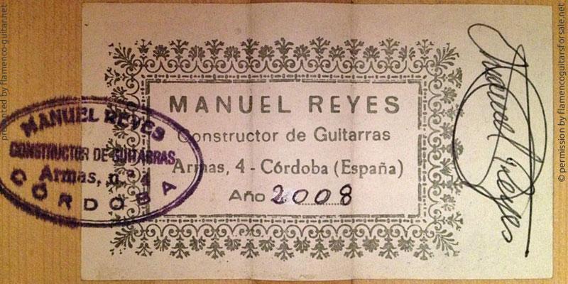 MANUEL REYES HIJO GUITAR 2008 - LABEL - ETIKETT - ETIQUETA