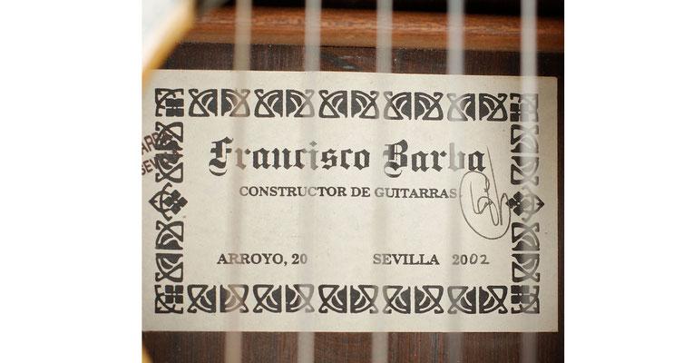 Francisco Barba 2002 - Guitar 3 - Photo 5