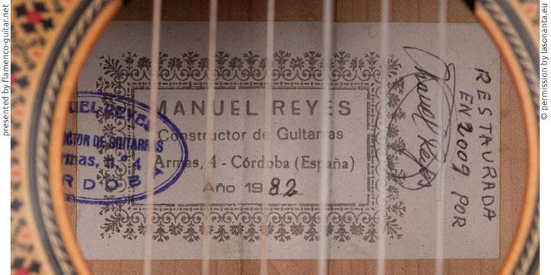 MANUEL REYES GUITAR 1982 - LABEL - ETIKETT - ETIQUETA