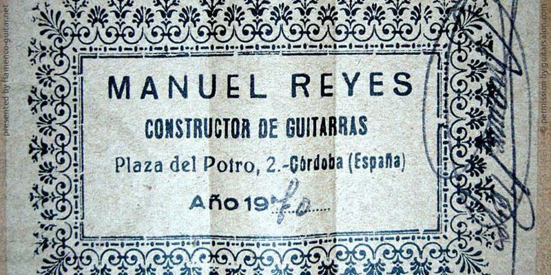 MANUEL REYES GUITAR 1970 - LABEL - ETIKETT - ETIQUETA