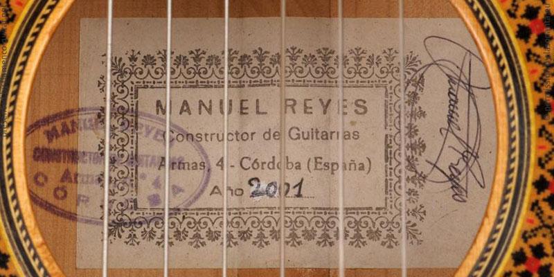 MANUEL REYES GUITAR 2001 - LABEL - ETIKETT - ETIQUETA