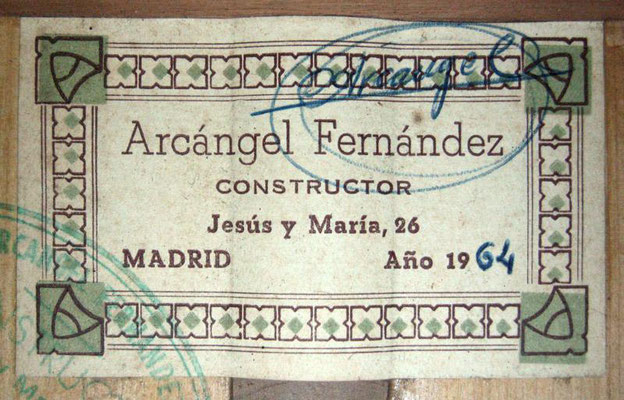 Arcangel Fernandez 1964 - Guitar 1 - Photo 3