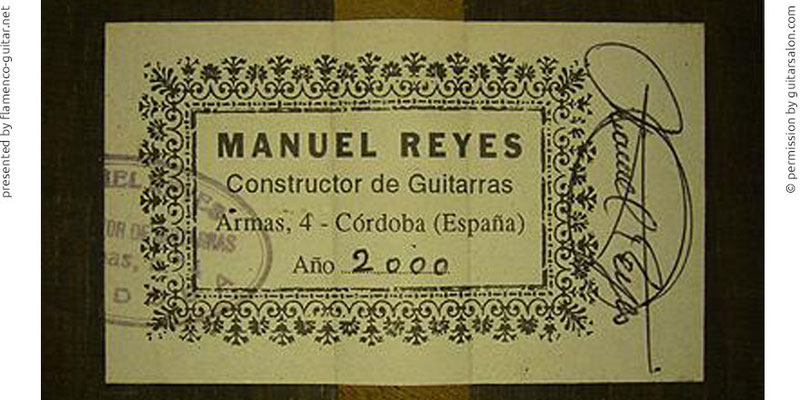 MANUEL REYES GUITAR 2000 - LABEL - ETIKETT - ETIQUETA