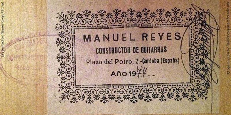 MANUEL REYES GUITAR 1974 - LABEL - ETIKETT - ETIQUETA