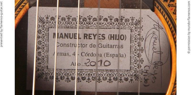MANUEL REYES HIJO GUITAR 2010 - LABEL - ETIKETT - ETIQUETA