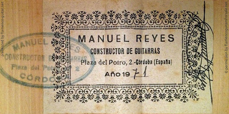 MANUEL REYES GUITAR 1971 - LABEL - ETIKETT - ETIQUETA