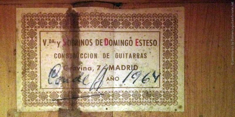 HERMANOS CONDE - SOBRINOS DE ESTESO 1964 - LABEL - ETIKETT - ETIQUETA