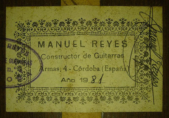 Manuel Reyes 1981 - Guitar 3 - Photo 1