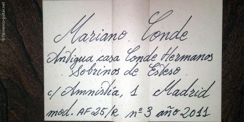 HERMANOS CONDE - MARIANO CONDE 2011 - LABEL - ETIKETT - ETIQUETA