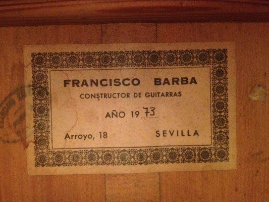 Francisco Barba 1973 - Guitar 3 - Photo 2