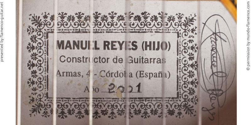 MANUEL REYES HIJO GUITAR 2001 - LABEL - ETIKETT - ETIQUETA