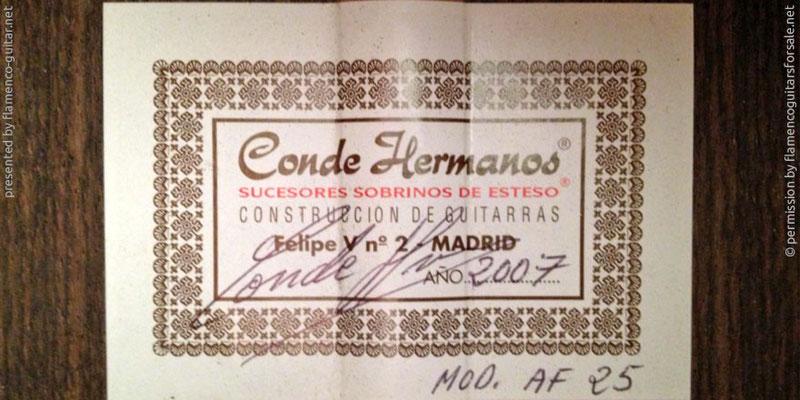 HERMANOS CONDE - SOBRINOS DE ESTESO 2007 #2 - LABEL - ETIKETT - ETIQUETA