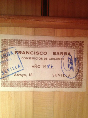 Francisco Barba 1987 - Guitar 1 - Photo 2