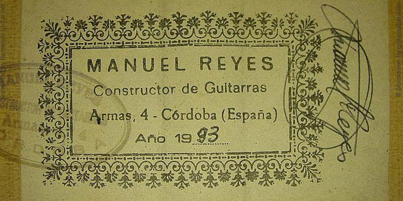 MANUEL REYES GUITAR 1993 - LABEL - ETIKETT - ETIQUETA