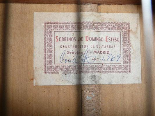 SOBRINOS DE DOMINGO ESTESO - HERMANOS CONDE 1969 Guitar 1 Label
