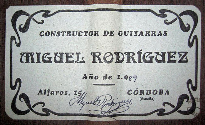 Miguel Rodriguez 1989 - Guitar 1 - Photo 6