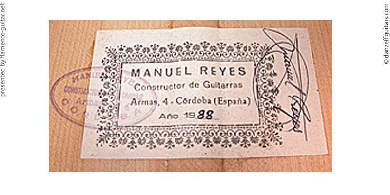 MANUEL REYES GUITAR 1988 - LABEL - ETIKETT - ETIQUETA