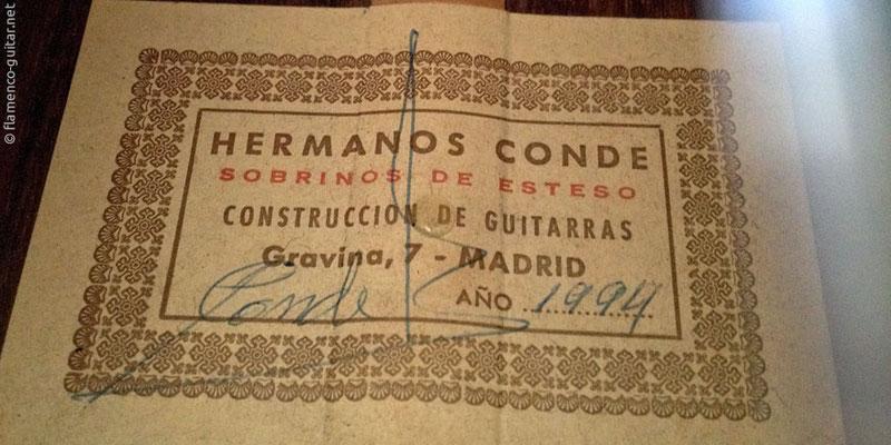 HERMANOS CONDE - SOBRINOS DE ESTESO 1994 - LABEL - ETIKETT - ETIQUETA