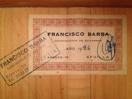 Francisco Barba 1986 - Guitar 1 - Photo 2