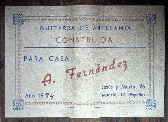 Arcangel Fernandez 1974 - Guitar 2 - Photo 6