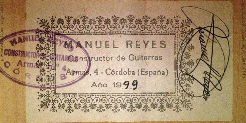MANUEL REYES GUITAR 1999 - LABEL - ETIKETT - ETIQUETA