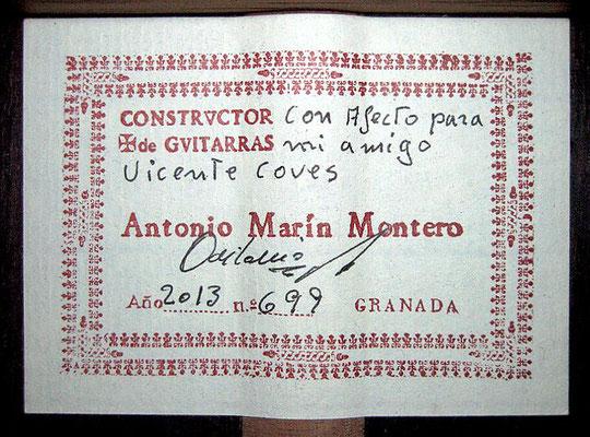 Antonio Marin Montero 2013 - Guitar 1 - Photo 1
