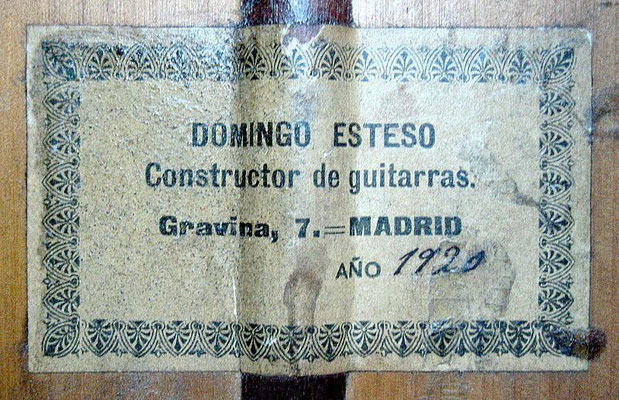 Domingo Esteso 1920 - Guitar 1 - Photo 6