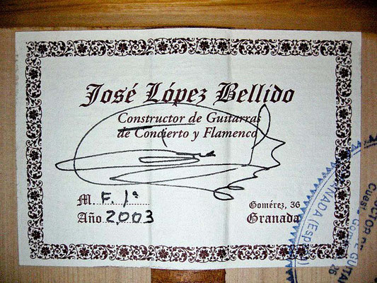 Jose Lopez Bellido 2003 - Guitar 1 - Photo 6