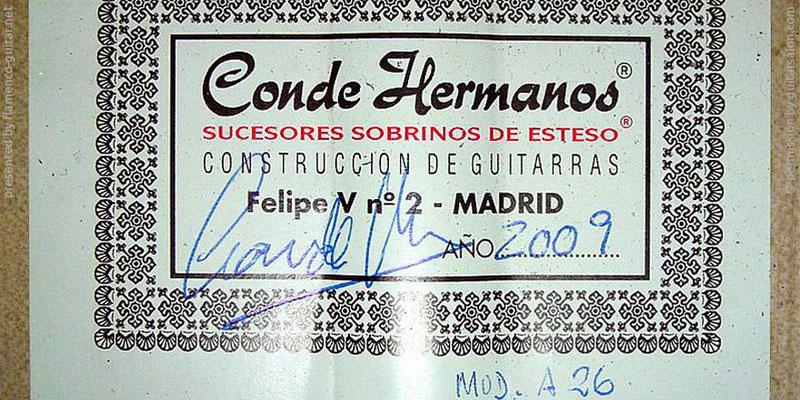 HERMANOS CONDE - SOBRINOS DE ESTESO 2009 - LABEL - ETIKETT - ETIQUETA