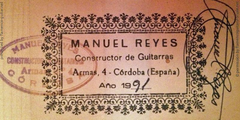 MANUEL REYES GUITAR 1991 - LABEL - ETIKETT - ETIQUETA