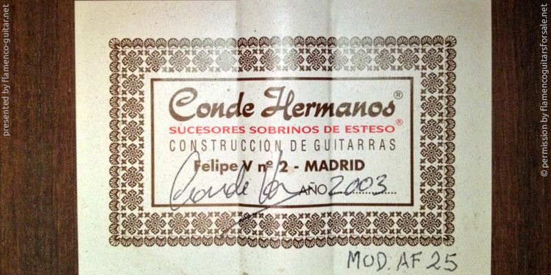 HERMANOS CONDE - SOBRINOS DE ESTESO 2003 - LABEL - ETIKETT - ETIQUETA
