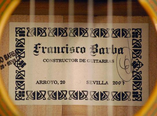 Francisco Barba 2007 - Guitar 1 - Photo 3