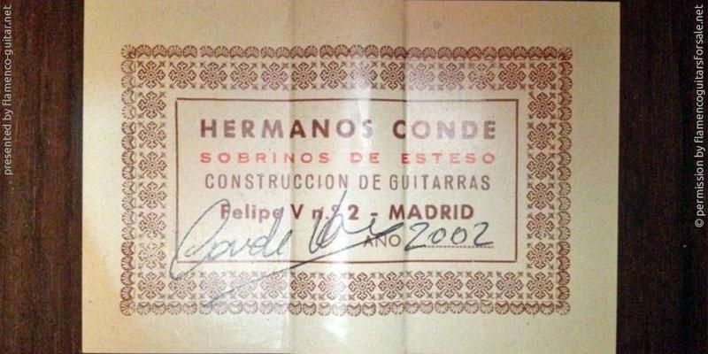 HERMANOS CONDE - SOBRINOS DE ESTESO 2002 #2 - LABEL - ETIKETT - ETIQUETA
