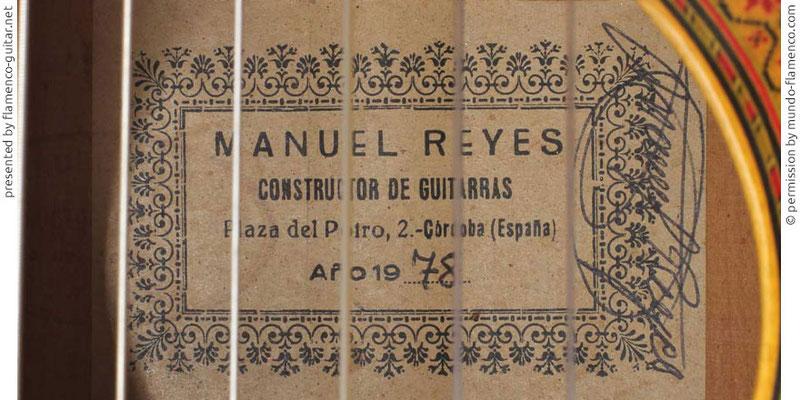 MANUEL REYES GUITAR 1978 - LABEL - ETIKETT - ETIQUETA